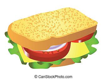 Sanduiche Queijo Alface Imagem Vectorial Scalable Isolado