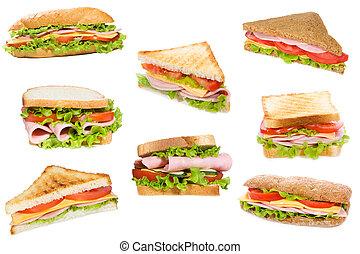 sanduíches, com, presunto, e, legumes
