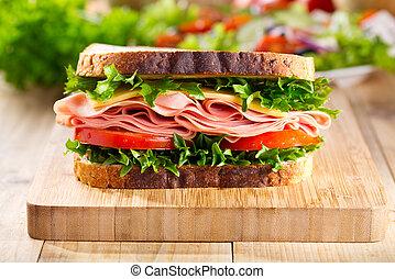 sandwich, à, lard, et, légumes