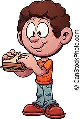sandwich, äta, unge