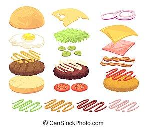 Sandwich and burger food ingredients cartoon vector set