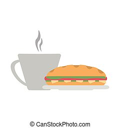 Sandwich and coffee cup vector illustration graphic design