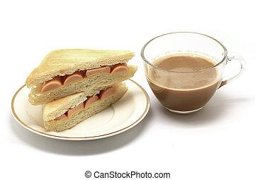 sandwich and coffee