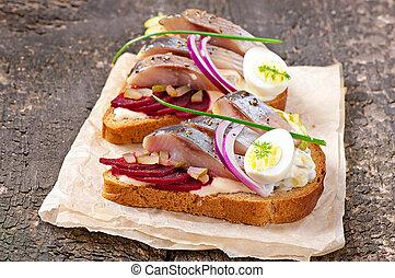 sandwich, av, ryebröd, med, sill