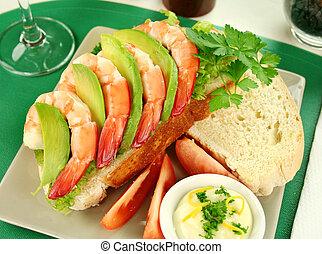 sandwich, avocat, crevette