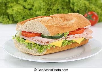 sandwich baguette, prosciutto, piastra, colazione, sub