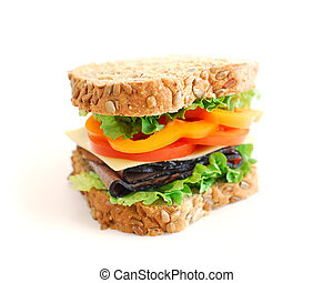 Sandwich - Big healthy sandwich isolated on white background