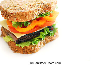 Sandwich - Big healthy sandwich with vegetables and meat ...