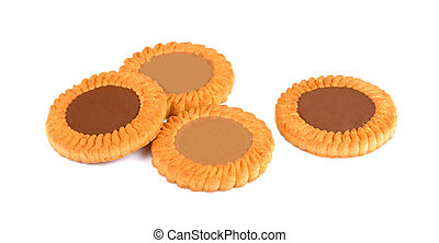Sandwich biscuits with chocolate, isolated on white background