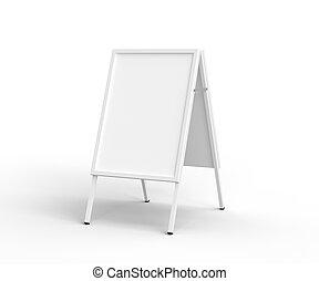 sandwich board on a white background