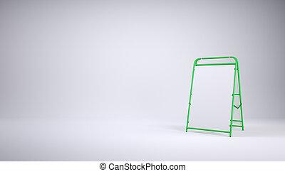 Sandwich board on grey empty studio