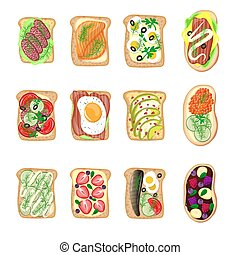 Sandwich breakfast toast set bread slices toasted crust sandwich with butter fried flat cartoon sandwich meat, fish, egg and butter vector illustration.
