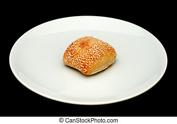 Sandwich bun with sesame on white p
