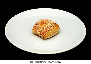 Sandwich bun with sesame on white p