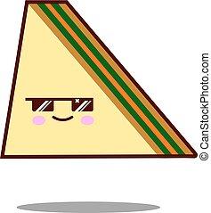 sandwich cartoon character icon kawaii fast food Flat design Vector