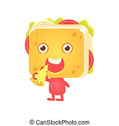Sandwich Character Eating Pizza