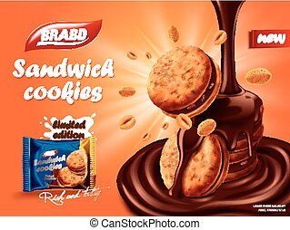 Sandwich chocolate cookies ad, flowing chocolate with...
