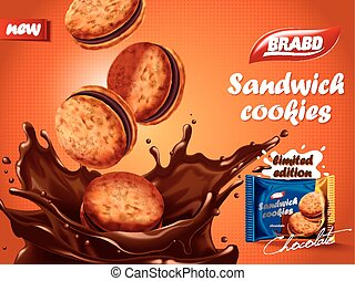Sandwich chocolate cookies ad, delicious cookies dive into...