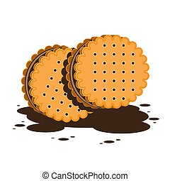 Sandwich cookies or crackers with chocolate filling on a white isolated background. Vector image