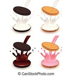 Sandwich cookies with cream splash 3d realistic vector set