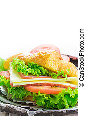 Sandwich croissant on white background