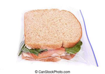 sandwich, dans, zipped, plastique, déjeuner, sac