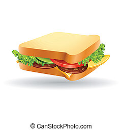 sandwich - abstract sandwich with shadow effect on white...
