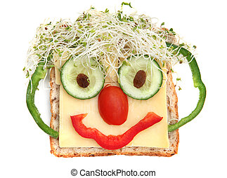 Sandwich Face - Face on bread, made from cheese, sprouts, ...