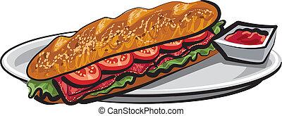 sandwich, fransk, baguette