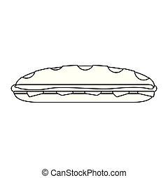 Sandwich fresh food black and white - Sandwich fresh food...
