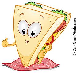 Sandwich Gesture - Illustration of a Sandwich Character...