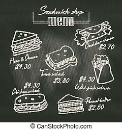 sandwich, griffonnage, panneau craie, fond, menu, dessin