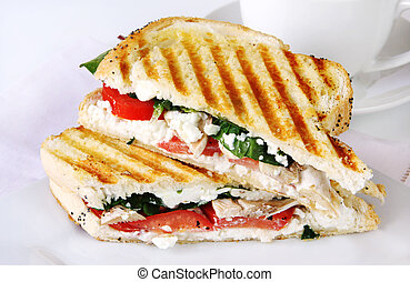 Sandwich - Grilled sandwich or panini, with goat's cheese, ...