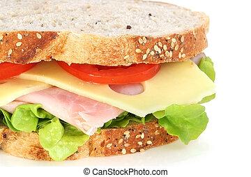 Ham, cheese, lettuce and tomato sandwich on wholewheat sourdough bread.