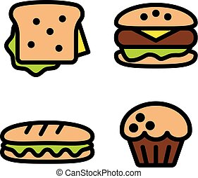 sandwich, hamburger, baguette and muffin