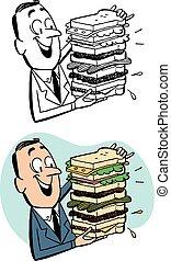 sandwich, homme