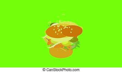 Sandwich icon animation cartoon object on green screen background