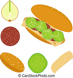 Sandwich - illustration of sandwich and ingredients of...