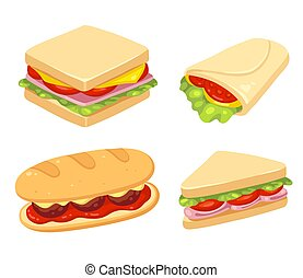 Sandwich illustration set - Set of 4 sandwiches. Meatball...