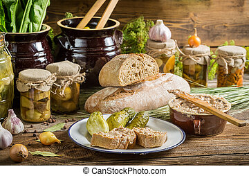 Sandwich in the pantry of supplies for the winter