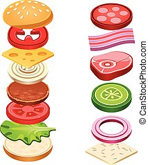 Sandwich Ingredients Food Vector Illustration