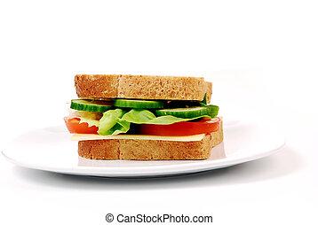 sandwich, jambon, sain, fromage, fond, blanc, tomates