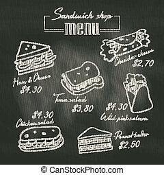 sandwich, klotter, krita planka, bakgrund, meny, teckning