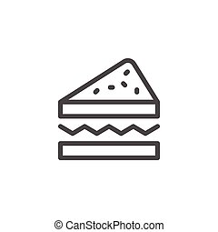 Sandwich line icon isolated on white. Vector illustration