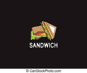 Sandwich logo design vector illustration on black background