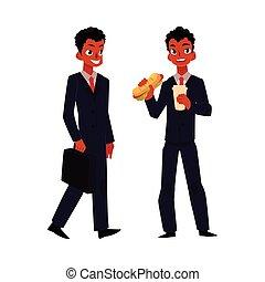 sandwich, manger, homme affaires, déjeuner, aller, noir, africaine, travail