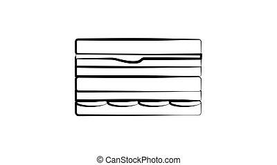 sandwich, noir, contour, main, illustration, dessin, toothpick, isolé, fond, dessiné, vecteur, croquis, blanc
