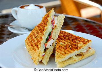 sandwich, og, kaffe