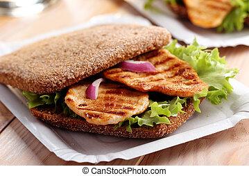 Sandwich on a paper tray
