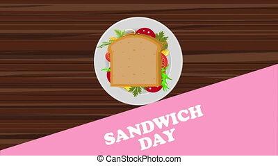 Sandwich on a plate, art video illustration.